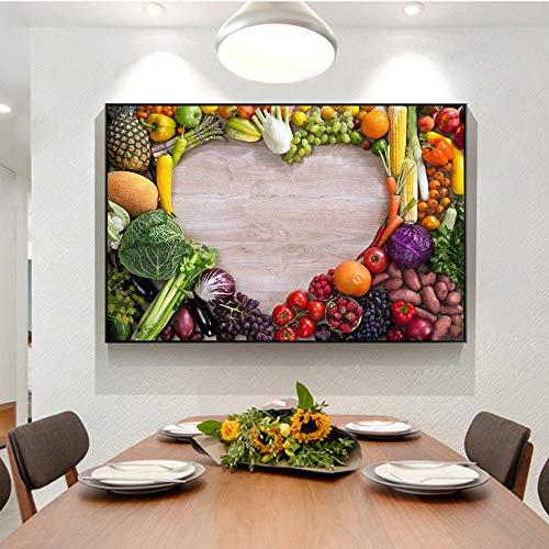 Plantaardige Liefde Puzzel Decoratieve Canvas Drukken, Keuken Kamer Muurfoto's Decor Wandposters en Prints 60x90cm geen Frame