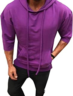 Mogogo Men's Hood Pure Color Pullover Casual Leisure Long Sleeve Shirt