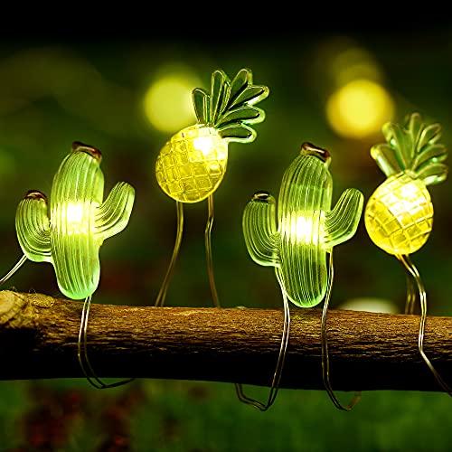 Grün Kaktus Lichterketten Gold Ananas Lichterketten LED Batterie Betriebene Lichterketten Tropische Fee Lichterketten 9,8 Ft 30 LEDs mit 8 Modi für Haus Hochzeit Party Geburtstag Dekor