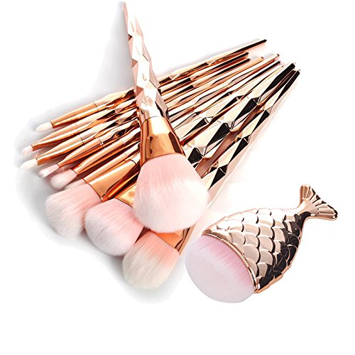 11Pcs Diamond Sales for sale Rose Gold Makeup Fishtail Set Brush Shaped 2021 spring and summer new Mermaid
