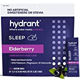 Hydrant Sleep Hydration Powder - Elderberry Electrolyte Powder with Melatonin, L-theanine, GABA, Magnesium & Chamomile - Natural Liquid Sleep Aid - 30 Hydration Packets