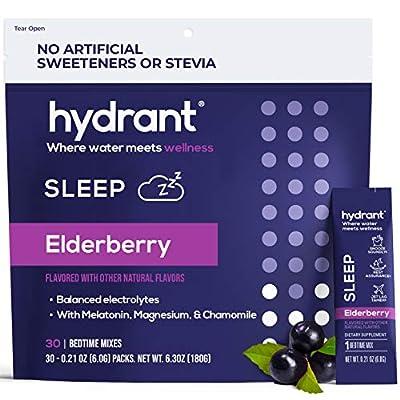 Hydrant Sleep Hydration Powder – Elderberry Electrolyte Powder with Melatonin, L-theanine, GABA, Magnesium & Chamomile – Natural Liquid Sleep Aid – 30 Hydration Packets