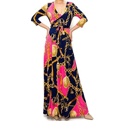Janette Fashion Pink Gold Chain Buckle Tassel Faux Wrap Maxi Dress