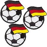 alles-meine.de GmbH 3 Stück _ Bügelbilder / Applikation / Aufbügler - Fußball mit Flagge / Fahne Deutschland - 4,2 cm * 4 cm - Aufnäher / gewebte Flicken - zum Aufbügeln Aufklebe..