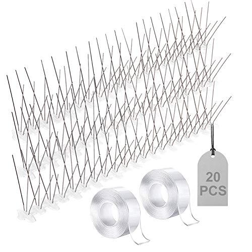 EXLECO 20 Pcs Pinchos Antipalomas de 6,0Metros Sistema Anti pájaros de Acero Inoxidable para ahuyentar Palomas para Pájaros, Cuervos