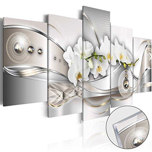 murando Acrylglasbild Abstrakt 200x100 cm 5 Teilig Wandbild auf Acryl Glas Bilder Kunstdruck Moderne Wanddekoration - Blumen Orchidee Silber Gold Ornament Diamant b-A-0073-k-n