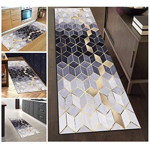 Teppich Läufer Flur Waschbare rutschfest Blau Grau Lange 60x250cm, Geometrische Muster, Polyester Verblassen Nicht, 3 Farben 25 Größen Erhältlich Anpassbar (60x250cm, Color2)