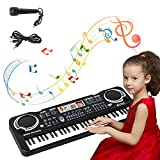 sanlinkee Piano Keyboard, 61 Keys Electronic Piano Portable Digital Music Keyboard with Microphone,Kids Educational Music Learning Toy Gifts for Girls Boys Children Beginner - Black