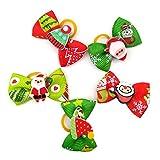 Balacoo 30pcs Lazos para el Cabello de Mascotas de Navidad elástico Bowknot Banda para el Cabello Lazo para el Cabello Anillo para el Cabello Accesorios para el Cabello de Navidad para Perros y Gatos