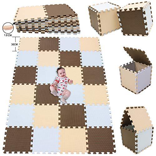MSHEN 24 Stück Puzzlematte | Kälteschutz,abwaschbar Kinderspielteppich Matte | puzzlematte Baby Trainingsmatte.Größe 1,93 Quadrat.Weiß-Braun-Beige-AFJg24