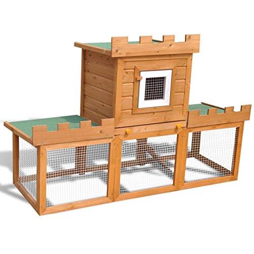 Weilandeal grote konijnenstal voor buiten, met een anti-slip ladder om de toegang tot de bovenste plant te vergemakkelijken.