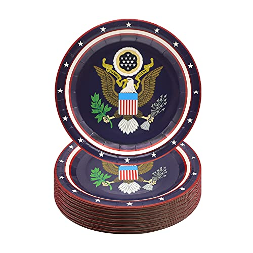Pandecor 4th of July Party Supplies,50 PCS American Eagle Disposable Paper Dessert Plates 7 Inch Cake Plates