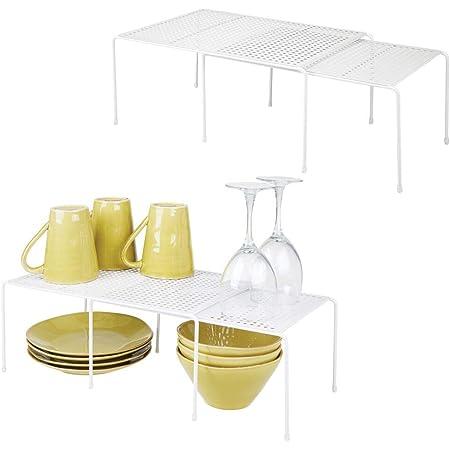 mDesign Juego de 4 estanterías metálicas para armarios de cocina – Práctico estante para vajilla de metal – Amplía la superficie de apoyo – Baldas de ...