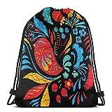 Mochila Bordada Brillante con Flores y berrias y pájaros, para Mujer, con cordón, Bolsa de Deporte, para Hombres y Mujeres