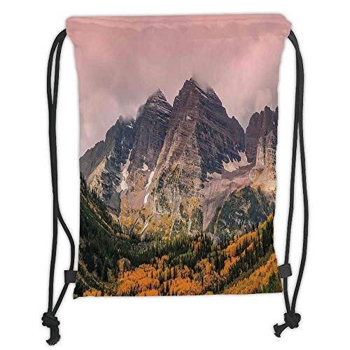 Fevthmii Drawstring Backpacks Bags,Fall Decorations,Idyllic Mountain with Snowy Peaks and Hazy Cloudy Sky on The High Valley Decor,Multi Soft Satin,5 Liter Capacity,Adjustable String Closur