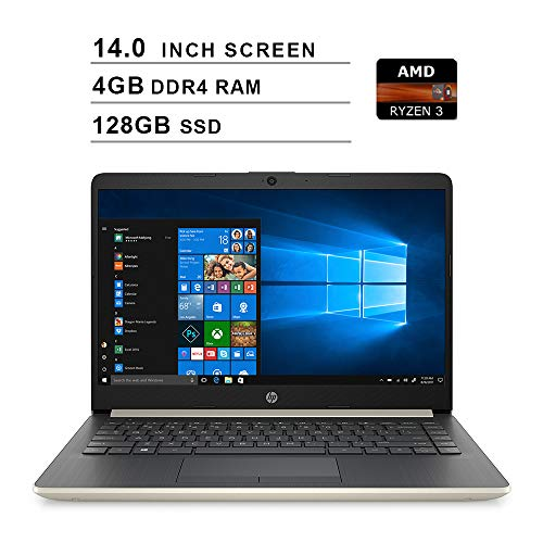 2020 Premium HP 14 Inch Laptop (AMD Ryzen 3 3200U (Beats i3-7100U), AMD Radeon Vega 3 Graphics, 4GB DDR4 RAM, 128GB SSD, WiFi, Bluetooth, HDMI, Windows 10 Home S) (Gold)