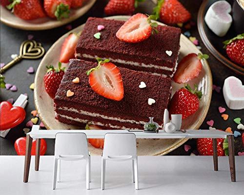 ZDBWJJ Snoepjes Cake Aardbei Voedsel Behang Woonkamer Bakkerij Snoepjes Shop Keuken Restaurant Muur Papieren Home Decor 400cmx280cm