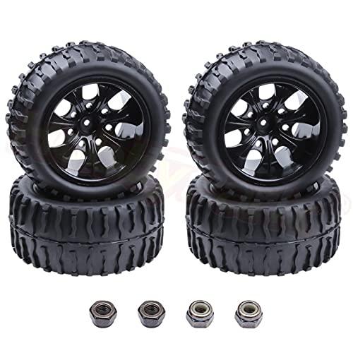 XCVUISDFJK Accesorios de Juguete 4 unids / Lote neumáticos de Goma para Camiones Insertos de Esponja y Llantas de Rueda para RC 1/10 Escala Todoterreno HSP Brontosaurus Redcat Volcano EPX 4WD Modelo