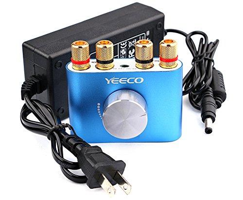 Mini Bluetooth Power Amplifier, Yeeco Wireless Audio Receiver BT 3.0/4.0/4.1 Hi-Fi Digital Amp 2 Channel 50W+50W with AUX/USB/Bluetooth Input (Amplifier+ Power Supply Adapter, Blue)
