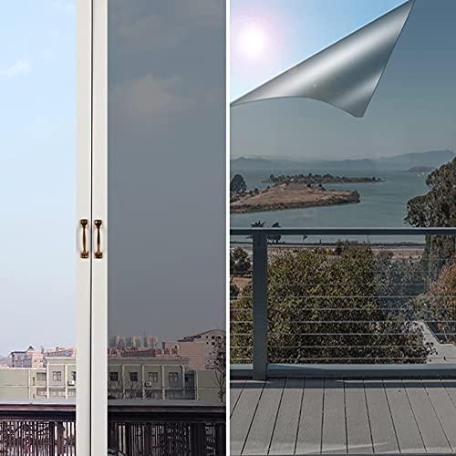 Silberner Fensterfolie Sonnenschutz Selbstklebend,NEEMOSI Fenster Sonnenschutzfolie Innen für Wärmeisolierung, 99% UV-Schutz und Sichtschutz.(60*200)