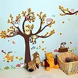 SoulSpaze Dibujos animados bosque árbol rama animal búho mono oso ciervo...