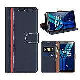 COODIO Huawei Y5 2018 Hülle Leder, Honor 7S Kapphülle Tasche Leder Flip Cover Schutzhülle Rugged für Huawei Y5 2018 / Honor 7S Handyhülle, Dunkel Blau/Rot