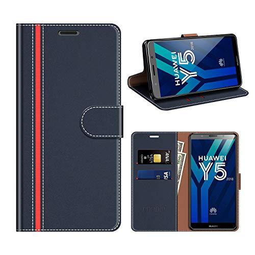 COODIO Custodia Huawei Y5 2018, Custodia in Pelle Rugged Honor 7S, Custodia Portafoglio Cover Porta Carte Chiusura Magnetica per Huawei Y5 2018 / Honor 7S, Blu Scuro/Rosso