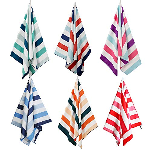 Exclusivo Mezcla Large Microfiber Beach Towel, Sand Free Striped Sports/Swimming/Pool Towel for Kids and Adults (6 Pack, 30