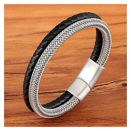 Personalised Classic Style Leather With Stainless Steel Stitching Combination Men's Bracelet Black/Steel Buckle Party Accessories Gift for Men (Length : 19cm, Metal Color : Black with Steel)