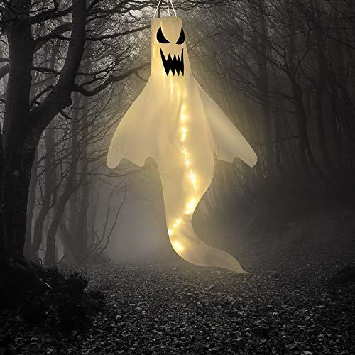 Halloween Geist Form Windsack Flagge mit Warmweißen LED Lichtern, Halloween Outdoor Hängend Dekor für Yard Garten Terrasse Weg Party Dekoration