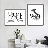zuomo Mapa de Italia Impresión de Silueta Imágenes de Pared en Blanco y Negro Mis raíces Diseño Floral Hogar Dulces Citas Lienzo Pintura Decoración 50X70cm / 20x28 Pulgadas Sin Marco