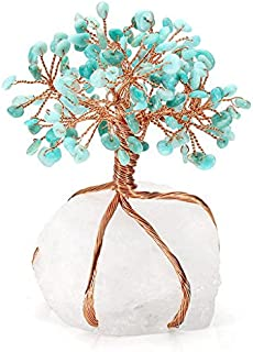 PESOENTH Amazonite Healing Crystals Money Tree Feng Shui Wealth Ornament Copper Tree of Life Clear Quartz Crystal Base Reiki Office Living Room Table Decoration Good Luck Health Figurine Gift