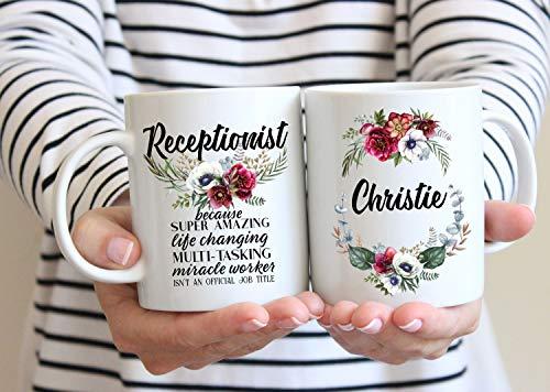 Taza de regalo de recepcionista para mujeres, asistente médico, oficina, secretaria, cumpleaños, regalo de agradecimiento, personalizado, taza con nombre personalizado