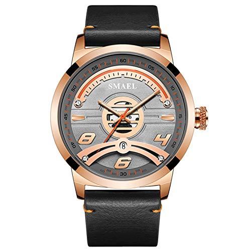 JTTM Relojes Militares para Hombre Reloj Deportivo De Cuero De Cuarzo Impermeable con Fecha Informal,Rose Gold