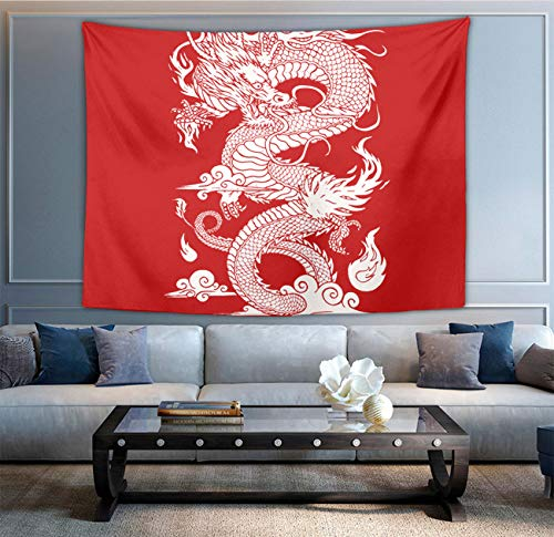 NiYoung Bohemian Mandala Hippie Hippy Decor Tapestry, Wall Hanging, Home Decor Art - Chinese Dragon Red Wall Tapestry, Living Room, Bedroom, Dorm Room Tapestry, Meditation