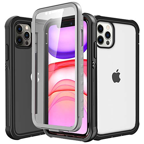 Krichit Rugged Clear Designed for iPhone 11 Pro Max Case, Slim Full-Body Stylish Protective Case with Built-in Screen Protector 6.5 inch (Clear Black)