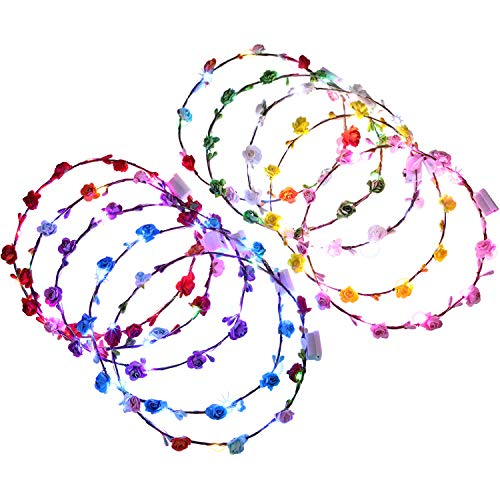 10 Pieces LED Flower Headbands Floral Wreath Crowns Colorful Light-up Headbands for Women Girls Hair Accessories