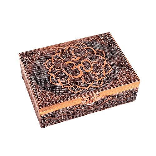 Phoenix Boîte à tarot (ou bijoux, cristaux) en métal couleur cuivre avec Om (Ohm)