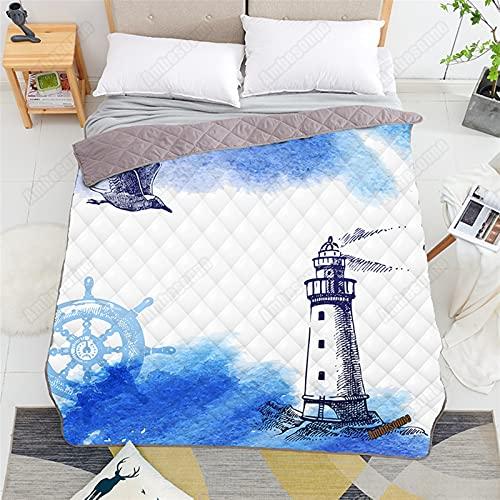 YYGQING Colcha de verano suave para adultos, diseño náutico, diseño único, diseño de aire acondicionado, colcha en la cama, edredón fresco de verano (color: imagen, tamaño: 100 x 150 cm)