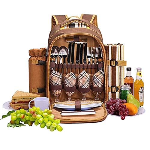 ZHIRCEKE Picknick-Rucksack,Tragbare Außenkapazität mit großer Kapazität bewegliche Hitze Erhaltung Frische Tasche für Camping Grill Familie Outdoor-Aktivitäten
