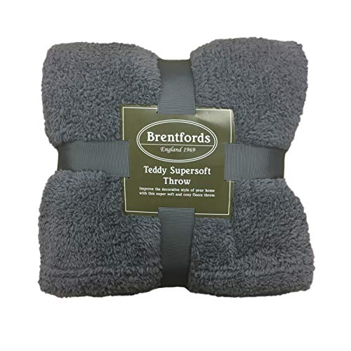 Brentfords Teddy Fleece Throw, 150 x 200 cm, 100% Polyester, Charcoal Grey, Double