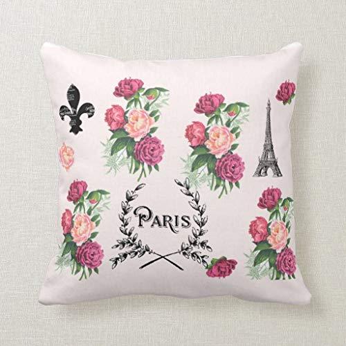 qidushop Paris Vintage Roses - Funda de cojín Decorativa, 45 x 45 cm, Color Rosa