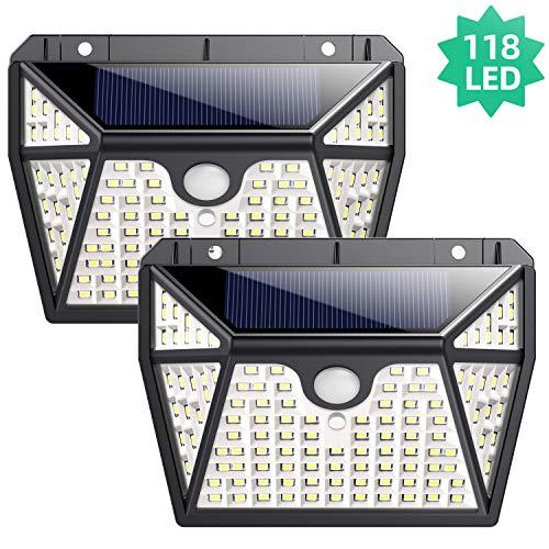 Luz Solar Exterior, Ekrist【Iluminación de 5 Lados】118 LED Luces Solares Foco Solar Exterior con Sensor de Movimiento, 270°Gran Angular Impermeable Lampara Solar Exterior Para Jardín 2-Paquete