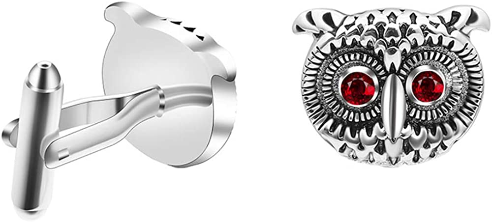 Animer and price revision Vpang 1 Pair Men's Cuff Rhinestone Creative Links Owl Super popular specialty store Cufflinks