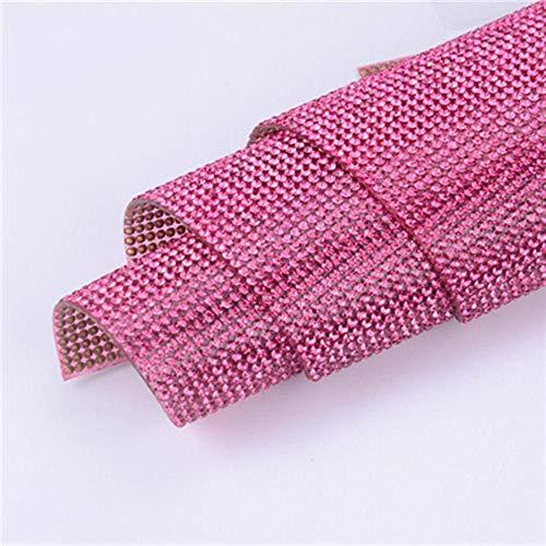 Sosa 24 * 40cm 2mm SS6 Kristallperlenbesätze Strass Eisen auf Transfer Design Mesh Strass Kristallrolle Hochzeit Brautdekoration, rosafarbene Farbe, selbstklebend