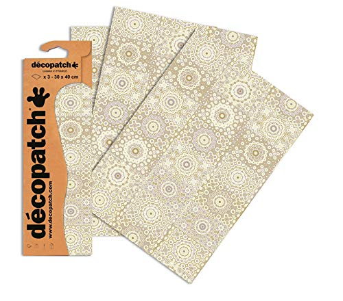 Decopatch Papier No. 638 (gold silber Casablanca, 395 x 298 mm) 3er Pack