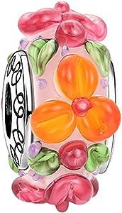 SOUFEEL Abalorio Charm Plata de Ley Flores en Plena Floración Cristal de Murano para Pulsera Regalo para Familia Mujer en Aniversario o Cumpleaños