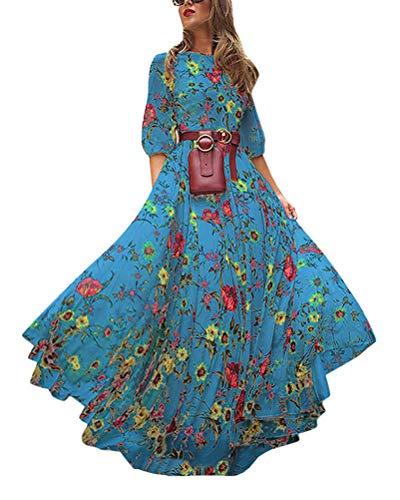 Tomwell Femme Floral Boho Mini Robe Robe Manches Robe Casual Col Rond Robe Longue Boheme Chic Robe de Plage Bleu 42