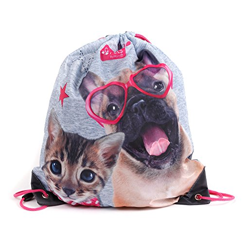 Kinder Turnbeutel/SPORTBEUTEL 36x32 cm - Studio Pets Collection - Hund & Katze - GRAU/ANTHRAZIT
