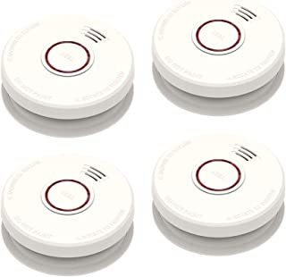 4 Pack Smoke Detector Fire Alarms 9V Battery Operated Photoelectric Sensor Smoke Alarms Easy to Install with UL Light Sound Warning, Test Button,9V Battery Included Fire Safety for Home Hotel